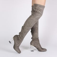 Parker Perspex Heeled Long Boots in Grey Faux Suede