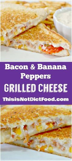 Bacon & Banana Peppers Grilled Cheese - This is Not Diet Food Dinner Recipes Easy Quick, Vegan Recipes Easy, Lunch Recipes, Diet Recipes, Cooking Recipes, Burger Recipes, Kitchen Recipes, Yummy Recipes, Breakfast Recipes