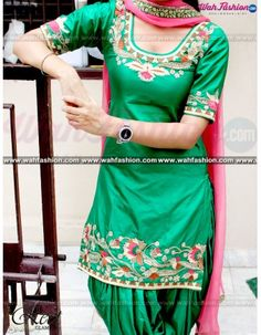 Lovely Green And Pink Embroidered Punjabi Suit Product Code: To order this dress , please call or WhatsApp us at We can design this punjabi suit in any color combination or on any fabric (price may vary according to fabric) Punjabi Suits Designer Boutique, Designer Suits Online, Boutique Suits, Patiala Salwar Suits, Salwar Suits Party Wear, Shalwar Kameez, Pakistani Suits, Indian Suits, Indian Wear