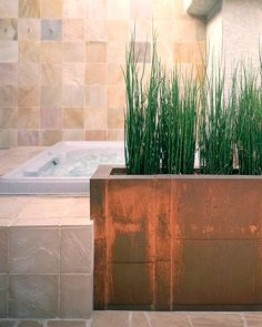 Built-in bathtub planter. This is EXACTLY what i mean.