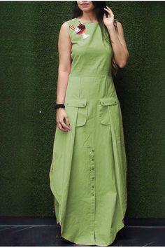 Off - Buy Green Color Pocket Kurti - Zoopikart Tunic Designs, Kurta Designs Women, Kurti Neck Designs, Kurti Designs Party Wear, Latest Kurti Designs, Stylish Dresses, Fashion Dresses, Casual Dresses, Frock Style Kurti