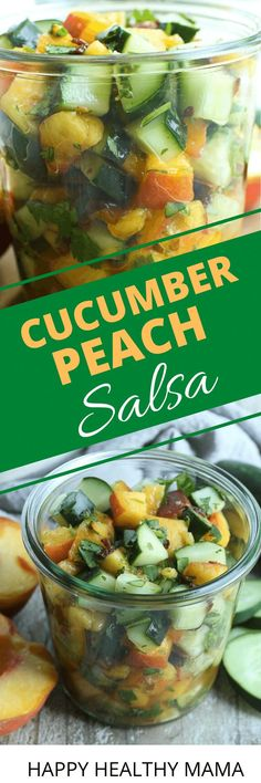 This Cucumber Peach Salsa is the perfect summer recipe!! Easy and healthy it's great for a snack, appetizer, or served with chicken or fish. So much flavor in this sweet and spicy salsa