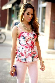 Pretty floral top for spring