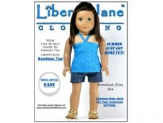 American Girl doll clothes pattern Bandeau Top and Dress | Liberty Jane Doll Clothes Patterns For American Girl Dolls $3.99