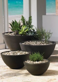 Delano Old Bronze Resin Planters   ~   Like the symmetry of the graduated planters and that they are brave enough to leave space -- even a whole pot.