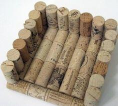 Servilletero de tapones de corcho de vino