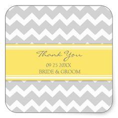 Yellow Grey Chevron Thank You Wedding Favour Tags Square Stickers