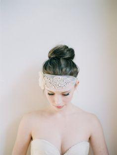 Bridal Head Piece, Silk Wedding Sash, Rhinestone Head Piece, Halo, Marguerite. $398.00, via Etsy.