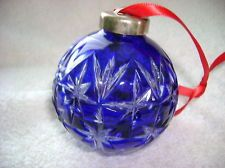 Waterford 2000 Cased Crystal Cut Cobalt Blue Ornament. Blue Christmas Decor, Christmas Time, Christmas Bulbs, Christmas Decorations, Holiday Decor, Merry Christmas, Cobalt Glass, Cobalt Blue, Waterford Ornaments