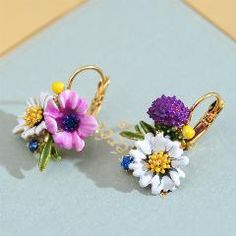[ 28% OFF ] Famous Brand Earrings, Violet And Daisy Flower Earrings, Gold Dns Ball Flower Earrings For Women Gift Mother Gift