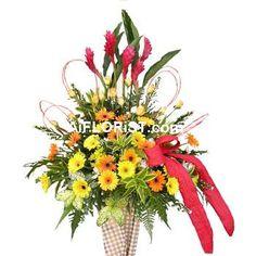 Beautiful arrangement of Tropical Red Ginger Flowers, Roses & Gerberas
