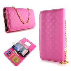 For Samsung Galaxy S6 Active G890 Wallet Case Credit Card Pouch Cover - Hot Pink #CoverON