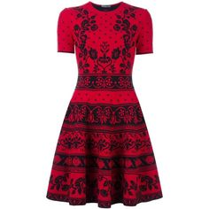 Alexander McQueen jacquard knit mini dress (120.325 RUB) ❤ liked on Polyvore featuring dresses, red, skater skirt, red circle skirt, red floral dress, floral dresses and red skater skirt