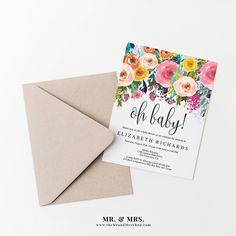 Editable Floral Oh Baby! Baby Shower Invitation Template, DIY Instant Download PDF, Digital Invite, Baby Shower Invitations, MAM106_33 by MrandMrsShop on Etsy