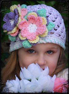 -Boutique Crochet Spring Easter Bonnet Lavender Speckled Egg Skull Cap ....