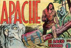 """LOS VIERNES TEBEOS Este viernes toca… """"El loco y el tesoro"""" de la colección Apache. Una delicia de colección. A nadie importa que el guión fuese copia exacta de El Guerrero del Antifaz, o que el título estuviera inspirado en el homónimo y reciente título cinematográfico de Robert Aldrich. Se trata de una de las mejores obras del tebeo español. Mención especial las primeras portadas de la serie."""