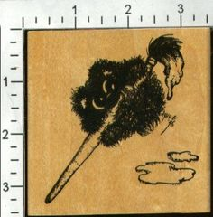 """Shy Bear """"Artisistic Painting Shy Bear'"""" rubber stamp"""