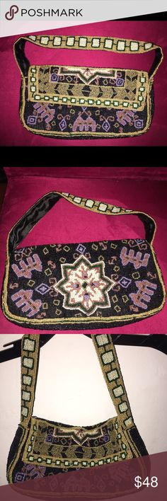 Handbeaded Evening/Shoulder Bag In EXCELLENT/Like New condition with all beads in tact. Handmade in India. Beautiful bag in person! Can easily go from day to night and can also be worn as a clutch. Purchase price $178. Always accepting offers! Christiana Bags Totes