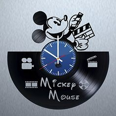 Mickey Mouse Silhouette HANDMADE Vinyl Record Wall Clock  Get unique nursery wall decor  Gift ideas for his and her  Walt Disney Unique Art Design  Leave us a feedback and win your custom clock Review