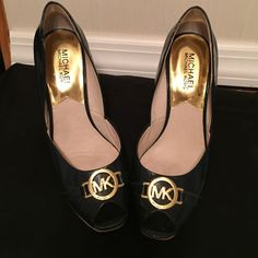 authentic mk  Rochelle wedge shoe Patent leather mk wedge heel size 7  navy blue stripes on heel. Gold emblem on front of shoe excellent condition wore once on wedding night  cute pair of heels to wear with s nice dress Michael Kors Shoes Wedges
