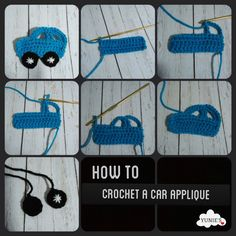 How to crochet a car applique - Craftfoxes A very easy method to make an adorable car applique, you can use it anywhere such as on bibs, baby blanket beanies and the list goes on and on All you . Crochet Car, Diy Crafts Crochet, Crochet For Boys, Crochet Motif, Crochet Flowers, Crochet Toys, Crochet Stitches, Crochet Projects, Crochet Tutorials