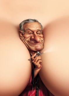 Fredrickson engraçado arte de playboy Hugh Hefner clivagem caricatura humor