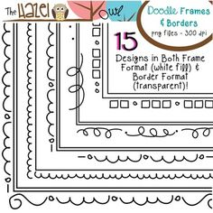Doodle Frames & Borders! 30 Graphics! $