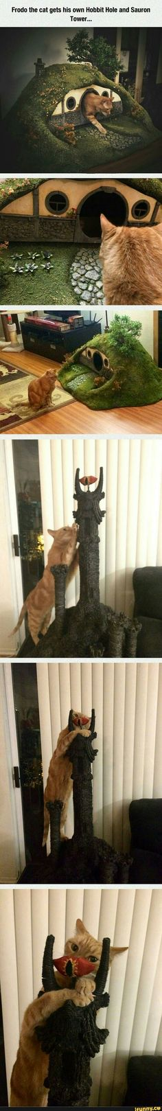 I think the cats need a house upgrade. =) Hobbit Hole cat house & Sauron's tower scratching post