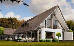 Eigentijdse woning met rieten kap, wit stucwerk en houtaccenten (Deze woning is voor ons te klassiek).