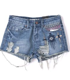 Blue Ripped Tribal Embroidery Denim Shorts 32.62