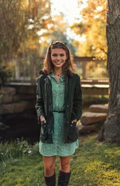 Barbour jacket, gingham shirt dress, and riding boots. Plaid Outfits, Preppy Outfits, Classy Outfits, Preppy Fashion, Ladies Fashion, Dress Outfits, Preppy Fall, Preppy Style, My Style