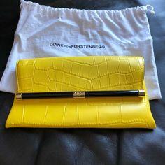Diane von Furstenberg Yellow Leather 440 Croc Embossed Clutch - Tradesy