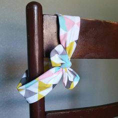 Geometric Pastel Triangles Top Knot Headband  by MissMaggPies