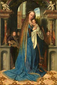 Quentin Massys - The Virgin and Child with Angels via Melanie Jean Juneau ~~ Mother Mary protecting her precious child.