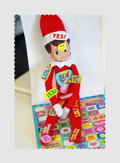 Elf on the shelf. Lol! I am going to do this with my girls' sticker book!