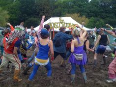 Party outside the lost & found tent at Bestival! #musicfestival #festival #bestival #rave #party #mud