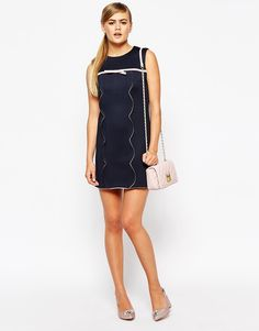 Image 4 ofDahlia A-line Scalloped Shift Dress with Bow Detail