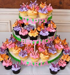 Colored candy melts butterfly cupcakes