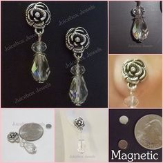 MAGNETIC Earrings Pewter ROSE,Iridescent Faceted Glass Crystal Teardrop #M101 #Handmade #DropDangle