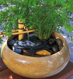 Ponds, pools, streams, fountains and other water features are remarkably effective at creating a sense of natural tranquility in a yard. This article offers 7 important considerations for building and installing these kinds of water features. Small Fountains, Indoor Water Fountains, Indoor Fountain, Garden Fountains, Bamboo Water Fountain, Tabletop Water Fountain, Diy Fountain, Fountain Design, Water Pond