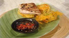 Photo of Asian glazed tuna with vegetable tempura