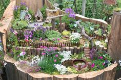 Fairy Garden at Summer's Past Farm, located in Flinn Springs. Enjoy the fragrance of lavender, sage, rosemary, and thyme! // Gorgeous layout!