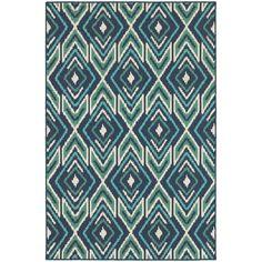 Diamond Ikat Navy/ Green Indoor Outdoor Area Rug (7'10 x 10'10)