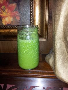 Glorious Green 'Aloha' Smoothie-- part of the HUNDRED STEP DIET (eating fresh greens from my own garden!) Super refreshing and healthy and yummy! Fresh Green, Mason Jar Lamp, Smoothie Recipes, Diet, Foods, Canning, Healthy, Garden, Food Food