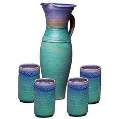Sweetheart Gallery: Contemporary, Fine American Craft, Art, Design, Handmade Home & Personal Accessories - Maishe Dickman Hand Thrown Stoneware Turquoise Tall Pitcher and Four T