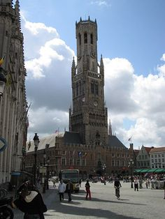 The famous Belfry in Grote Markt.  Located in Brugge, Belgium...in the City Centre