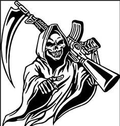 Skull Tattoo Design, Skull Tattoos, Body Art Tattoos, Tribal Tattoos, Sleeve Tattoos, Tattoo Designs, Grim Reaper Art, Grim Reaper Tattoo, Skull Stencil