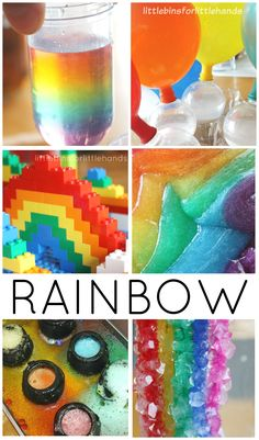 Rainbow science activities and experiments for preschool, kindergarten, and grade school age kids. Fun rainbow and Spring science experiments for learning. Also great for St. Patrick's Day and Summer themed activities.