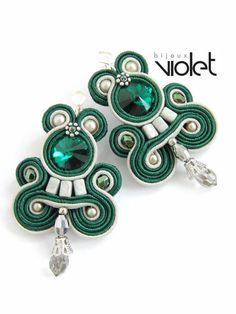 Emerald Soutache Earrings by Violetbijoux on Etsy, $59.00