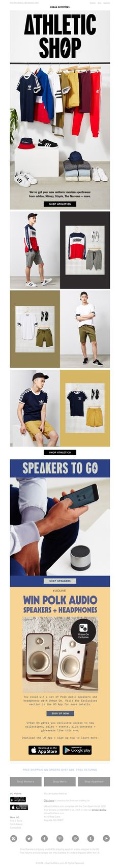 """Urban Outfitters - Athletic Shop...mix of """"Still life"""" and OF showing key outfitting"""
